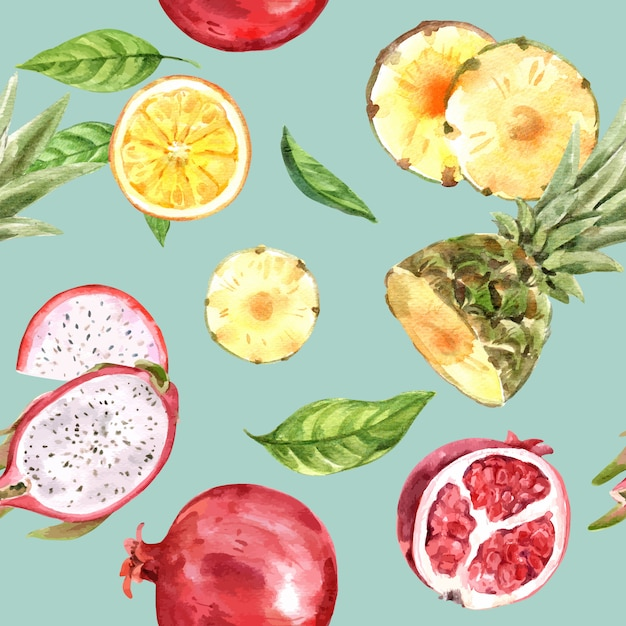 Pattern with yellow and red fruits watercolor, colorful  illustration template Free Vector