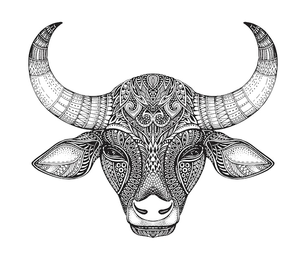 雄牛のパターン化された頭。華やかな落書きスタイルの手描きのベクトルイラスト。 Premiumベクター