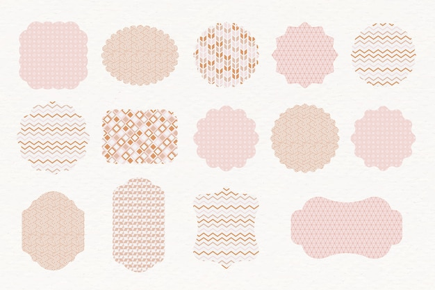 Patterned pastel labels Free Vector