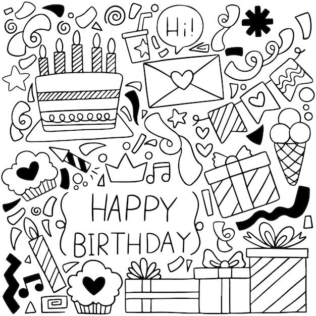 手描きパーティー落書きお誕生日おめでとう装飾背景patternflag Premiumベクター