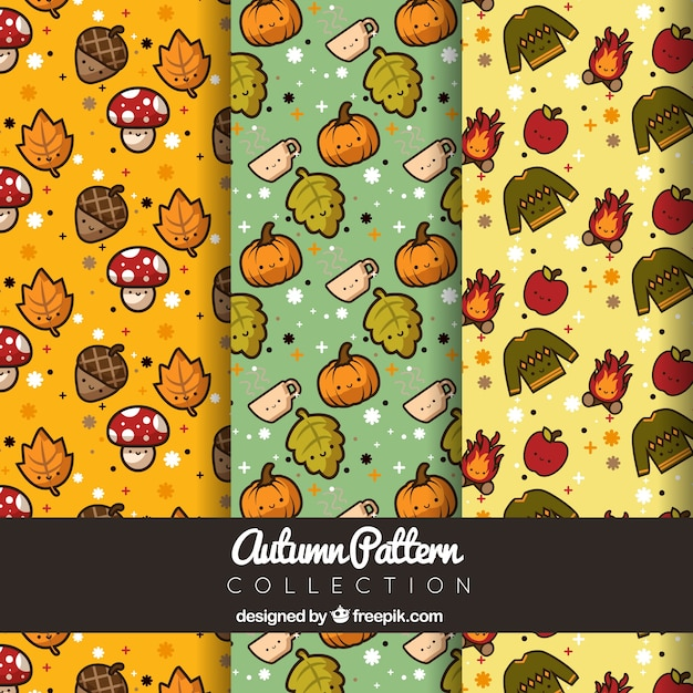 Patterns for autumn, kawaii style Free Vector