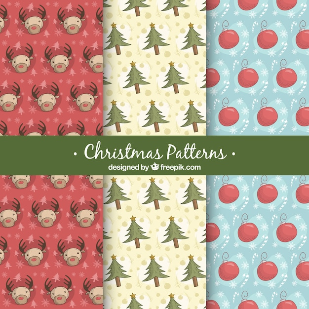 Patterns of christmas elements sketches Free Vector