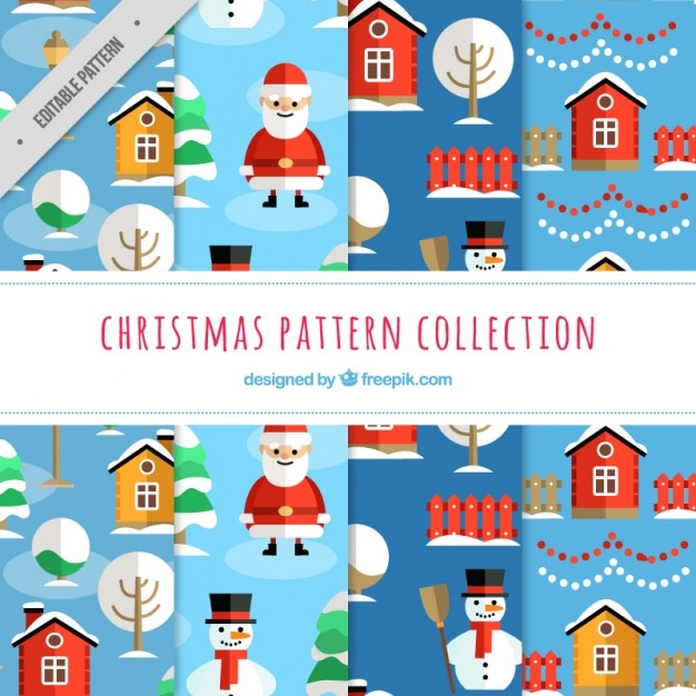 Patterns of christmas with santa claus and snowmen Free Vector