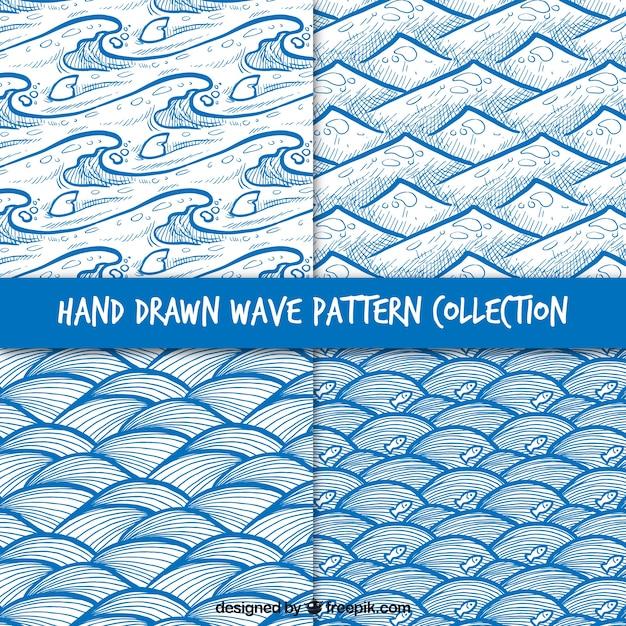 الگوهای مجموعه ای از امواج دست کشیده