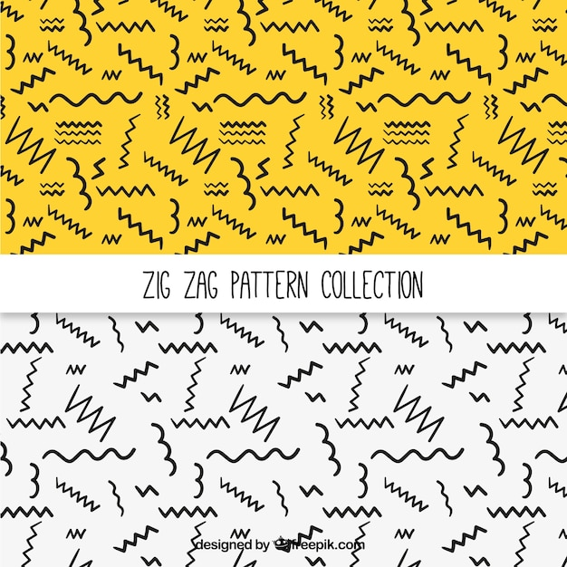 Patterns of hand-drawn zig-zag lines Free Vector