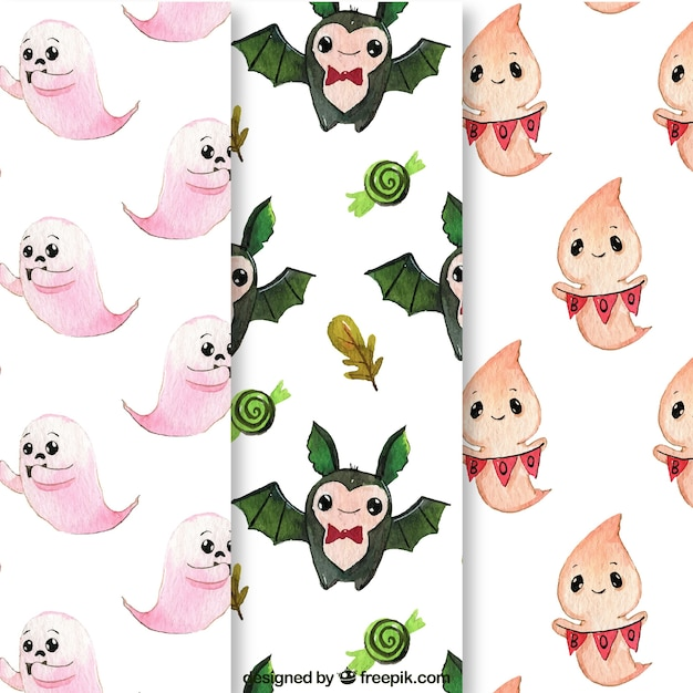 Patterns of funny watercolor halloween characters
