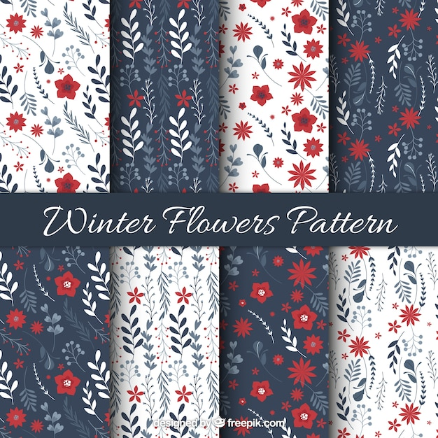 Patterns of ornamental winter flowers in vintage style Free Vector