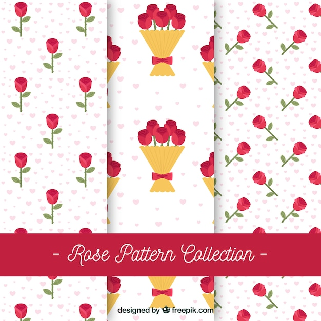 Patterns of roses in flat design