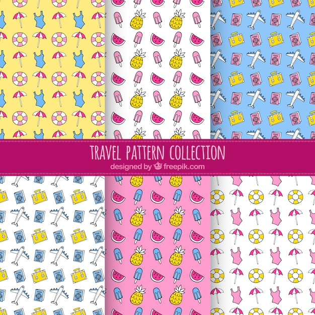 Patterns of summer travel drawings collection