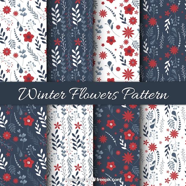 Patterns of ornamental winter flowers in vintage style Free Vector
