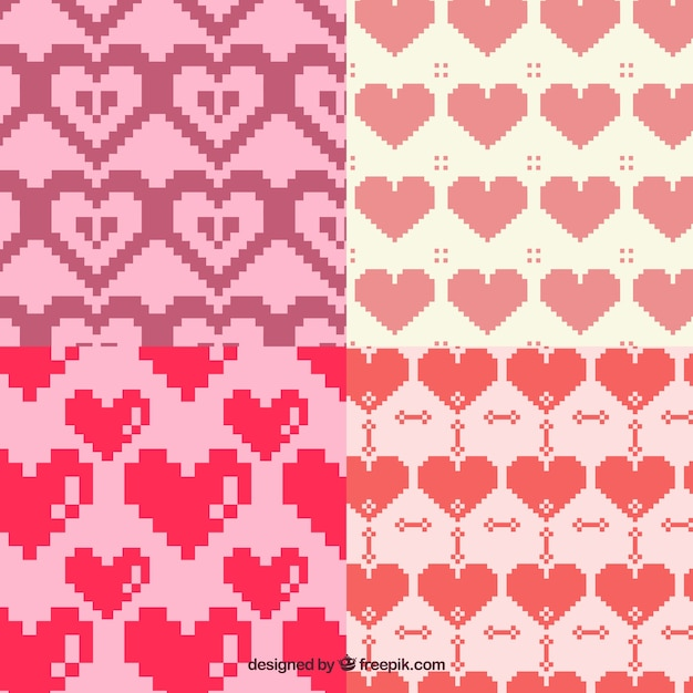 Patterns pixelated hearts Free Vector