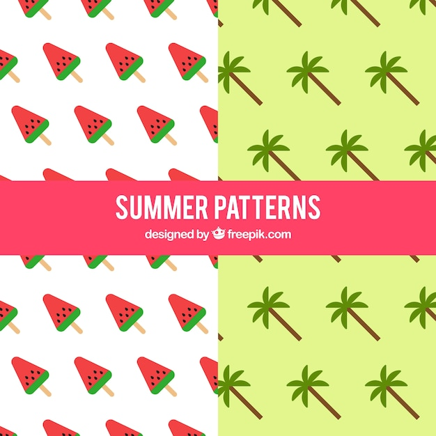 Patterns of watermelon and palm tree Free Vector