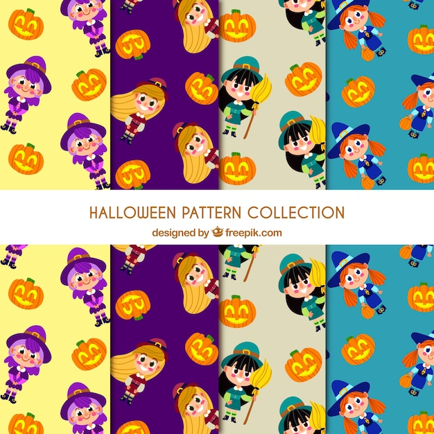 Patterns with funny halloween characters