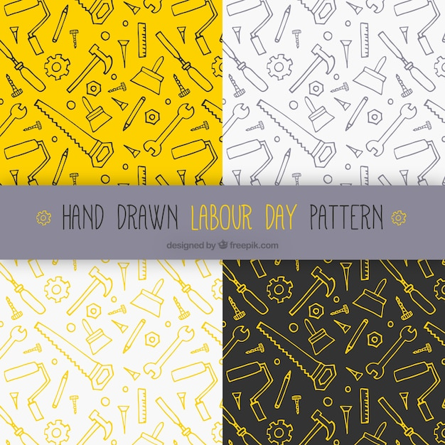 Patterns with tool sketches Free Vector
