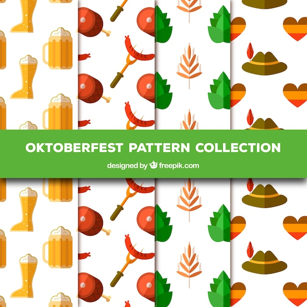 Patterns with traditional flat elements of oktoberfest