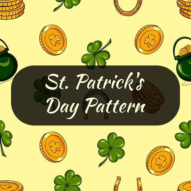 Pattren for st patricks day. clover leaves and coins. seamless pattern Premium Vector