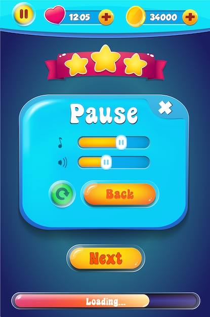 Pause setting menu with sound music Premium Vector