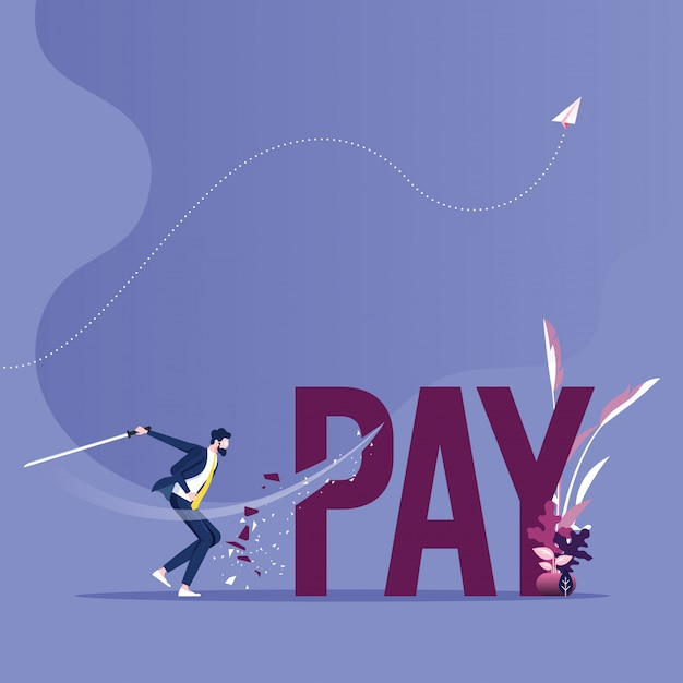 Pay cutting concept vector. businessman cut tax word with sword Premium Vector