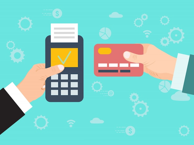 Pay merchant hand credit card. credit card online payment. payment with edc mashine and credit card. electronic funds transfer at point of sale via terminal. Premium Vector