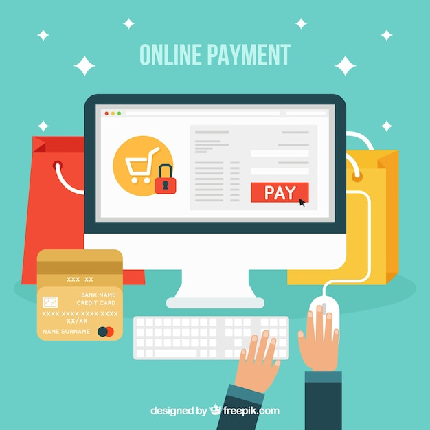 Pay online, flat style Vector | Free Download