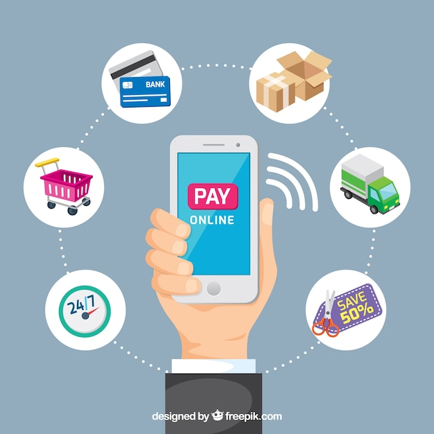 Pay online, mobile phone Free Vector