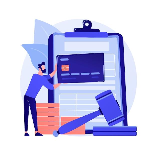 Оплата штрафов абстрактная концепция векторные иллюстрации. проценты за просрочку платежа, уплату штрафа онлайн, не подачу налогов, штраф, индивидуальная совместная ответственность, абстрактная метафора финансового спора. Бесплатные векторы