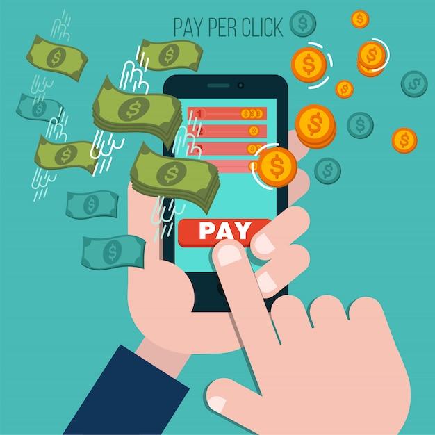 Pay per click mobile advertising concept Premium Vector