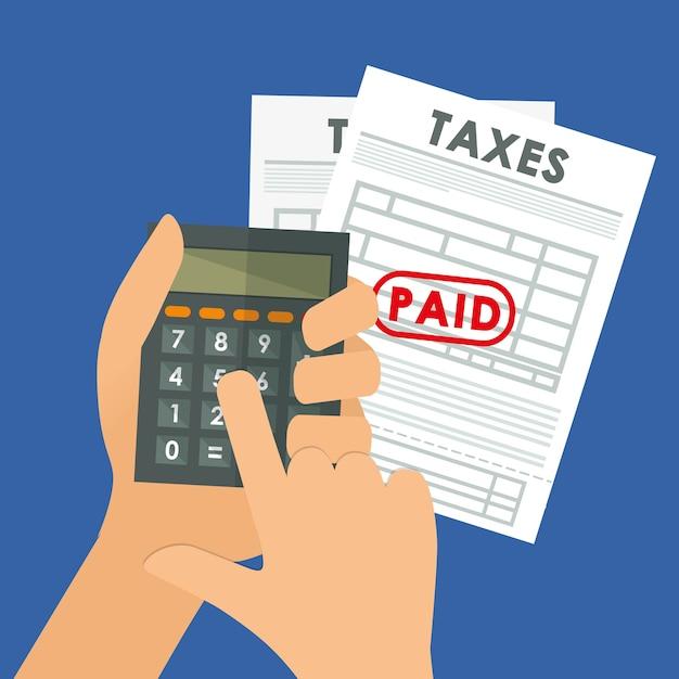 Pay taxes graphic design theme Premium Vector