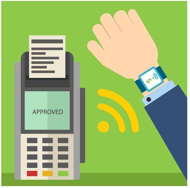 Paying bill transferring money trough smart watch Premium Vector