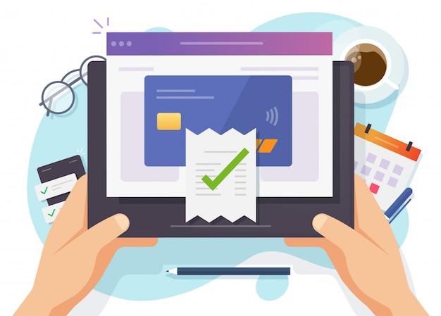 Оплата счетов завершена онлайн-оплата в цифровом виде с помощью кредитной карты на электронном мобильном компьютере Premium векторы