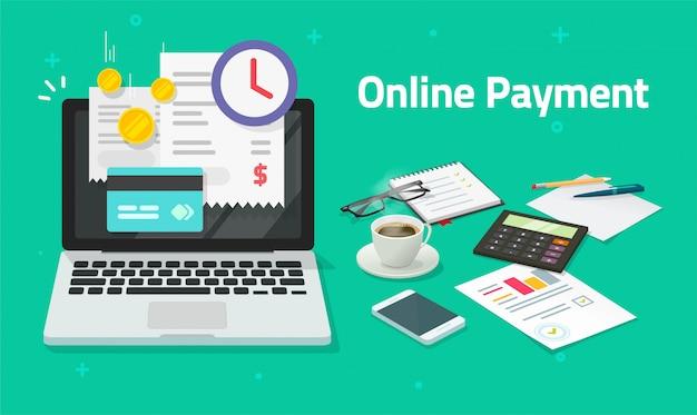 노트북 컴퓨터에 신용 카드를 통해 온라인으로 청구서 지불 또는 Pc에 디지털 인터넷 지불 청구서가있는 Pc의 전자 쇼핑 개념 금융 영수증이있는 평면 만화 거래 프리미엄 벡터