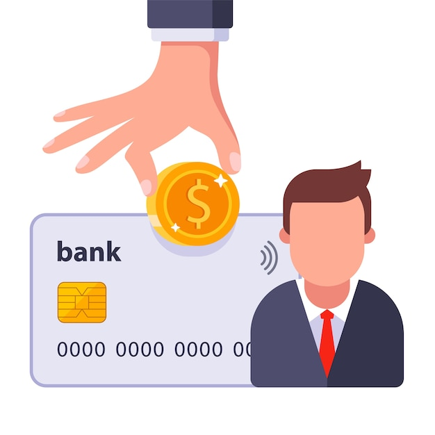 Paying salary to the employee with bank card Premium Vector