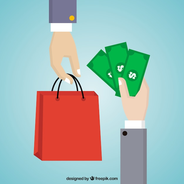 Payment background with red bag Free Vector