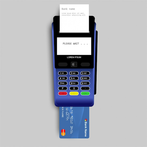 Payment by credit card using pos terminal Premium Vector