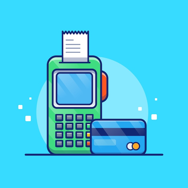 Payment by debit card illustration. bank card and bill. Premium Vector