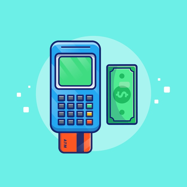 Payment by debit card  illustration. bank card and money. technology concept isolated Premium Vector