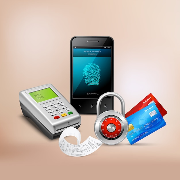 Payment by mobile phone with biometric protection realistic composition on beige Free Vector