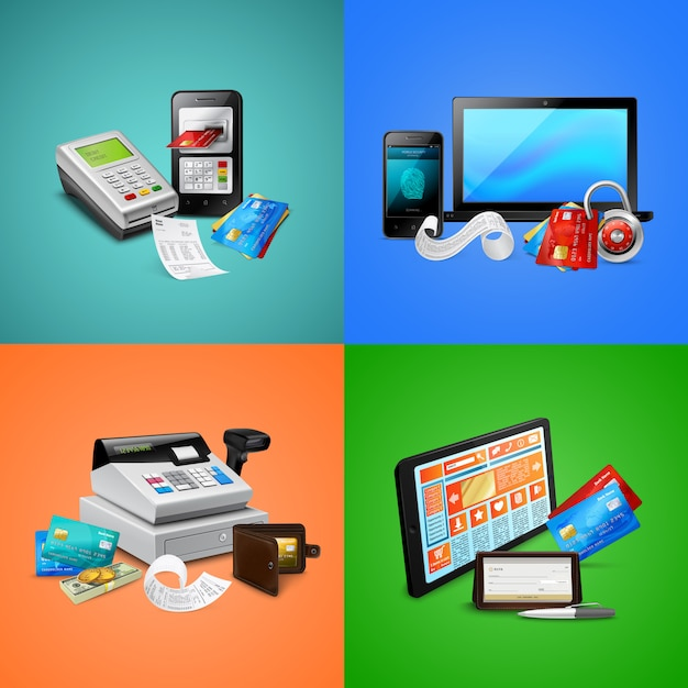 Payment cards biometric security system bills cash register and mobile devices compositions Free Vector