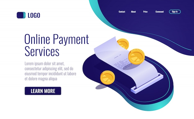 Payment concept, paper receipt online banking icon isometric, payroll with coin money Free Vector