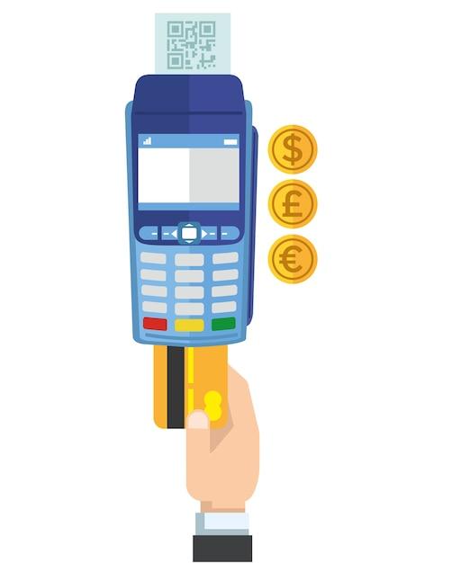 Payment credit card terminal Premium Vector