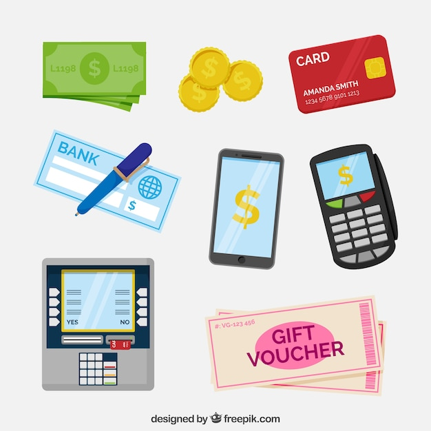 Payment elements with flat design Free Vector