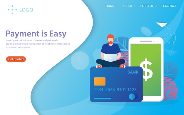 Payment is easy, landing page Premium Vector