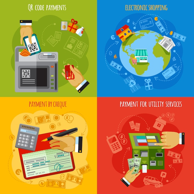 Payment methods 4 flat icons square Free Vector