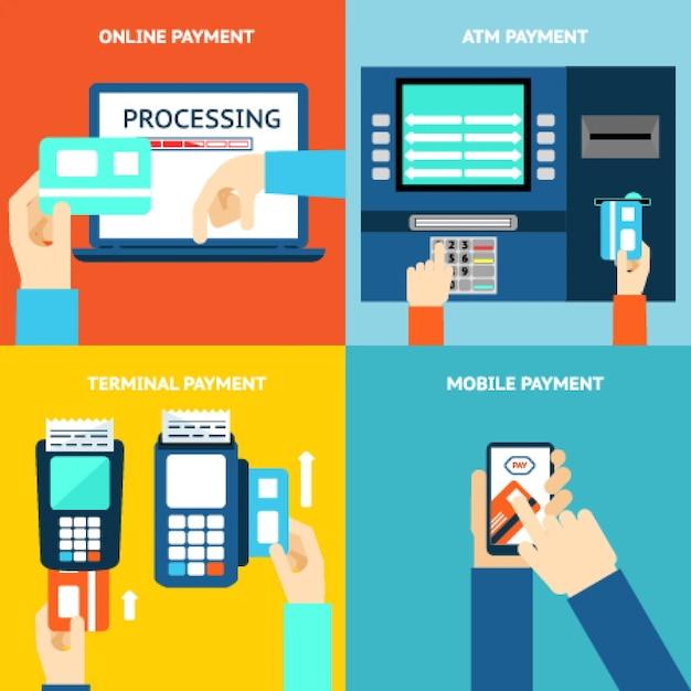 お支払い方法。ビジネスと購入、フラットなデザインとお金。クレジットカード、現金、モバイルアプリ、atm端末。ベクトルイラスト 無料ベクター