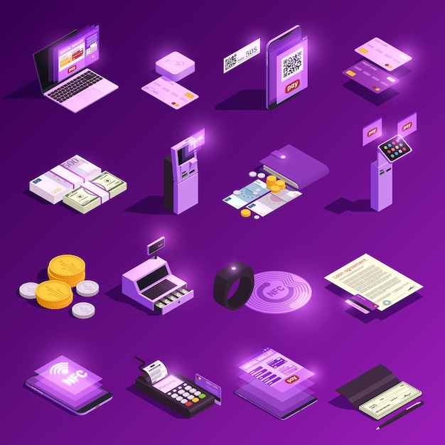 Payment methods glowing isometric icons Free Vector