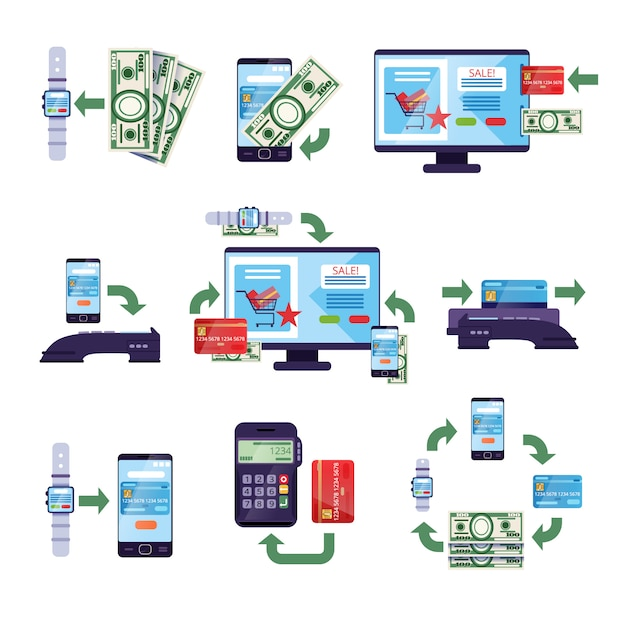 소매 및 온라인 구매의 결제 방법, 온라인 모바일 결제 개념 일러스트레이션 프리미엄 벡터