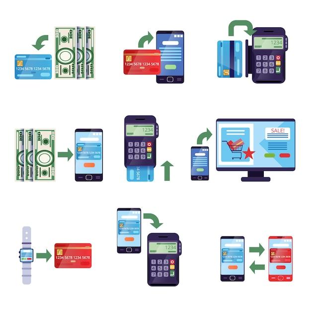 소매 및 온라인 구매의 결제 방법, 온라인 결제 개념 프리미엄 벡터