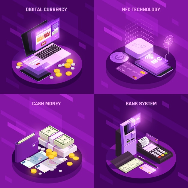 Payment methods isometric design concept Free Vector