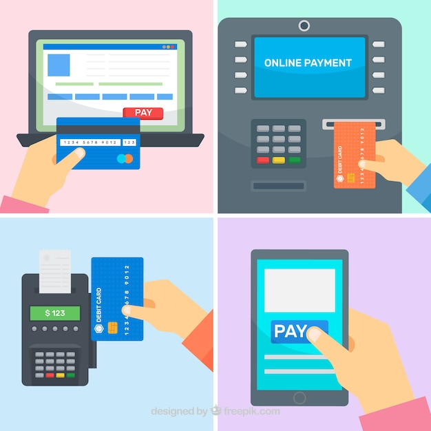Payment methods with technological devices Free Vector