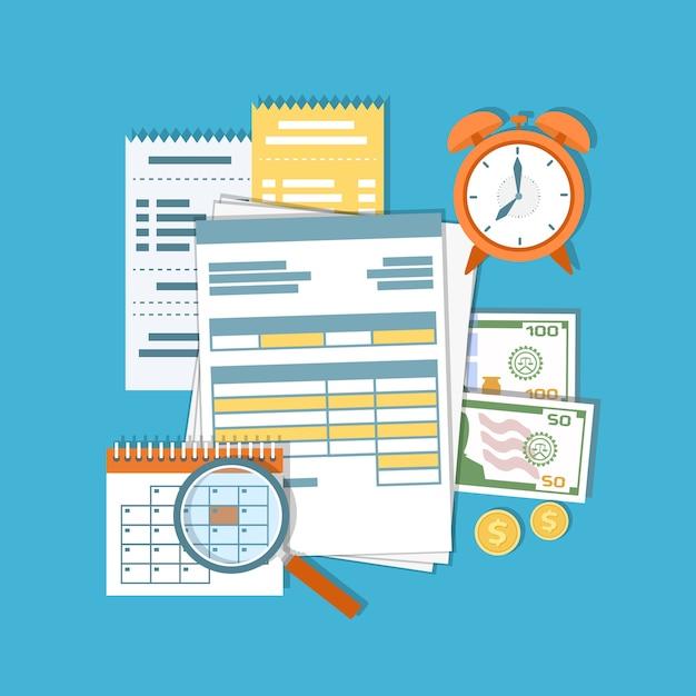 税金、借金、クレジットの支払い。金融カレンダー、ドキュメント、フォーム、お金、現金、金貨、電卓、虫眼鏡、目覚まし時計、請求書、請求書。給料日。図 Premiumベクター